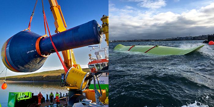 CorPower Ocean C3 (t.v) och Minesto deep green kite (t.h)
