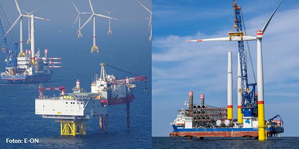 Bild på vindkraftparken Arkona (till vänster) och underhåll av vindkraftverk (till höger)