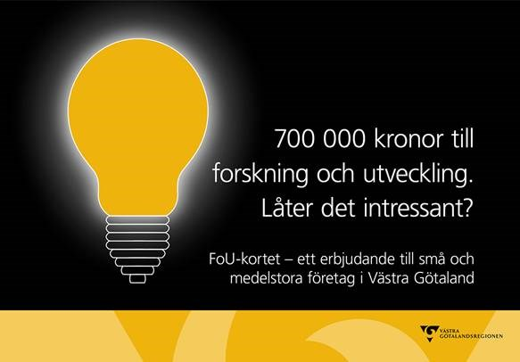 VGR erbjuder genom FoU-kortet 700 000 SEK till forskning och utveckling